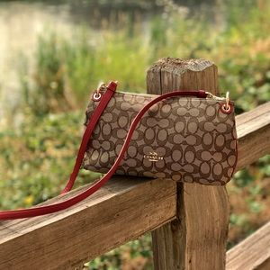 Coach Signature Charley Crossbody with Red Detail
